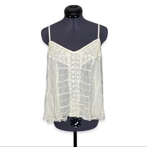 American Eagle Criss Cross Embroidered Lace Tank